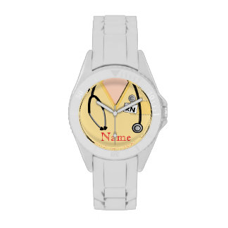 El reloj de la enfermera friega amarillo superior