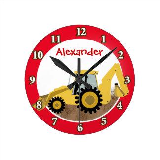 El reloj de la retroexcavadora de la construcción