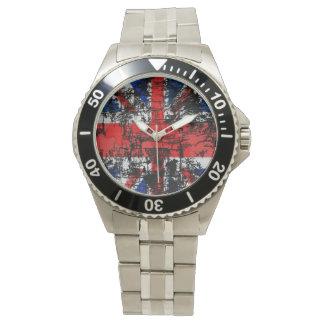 El reloj de los hombres de Union Jack del Grunge