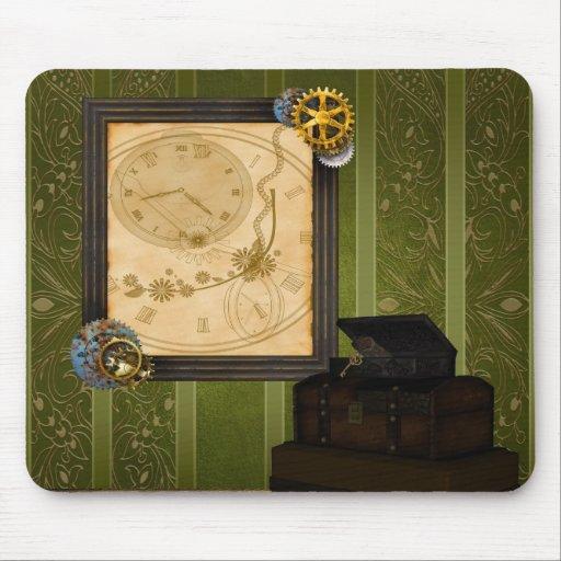 El reloj de marco antiguo del tronco del vintage tapete de ratones