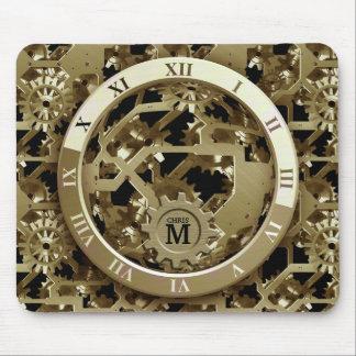 El reloj de oro con monograma adapta los números r alfombrillas de ratón