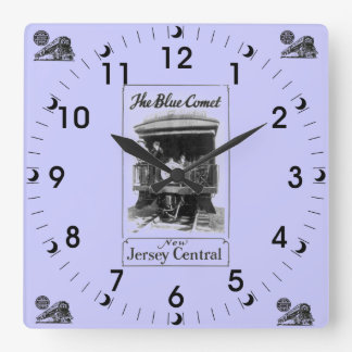 El reloj de pared azul del vintage del tren del