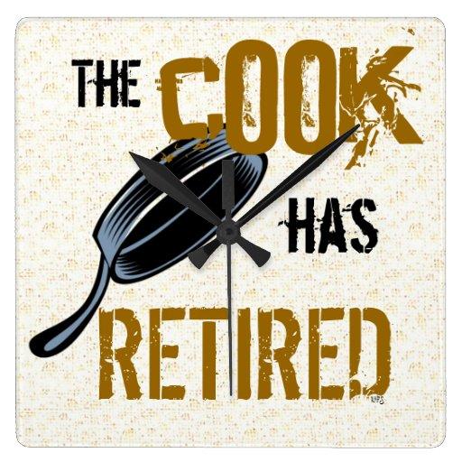 El reloj de pared jubilado del cocinero