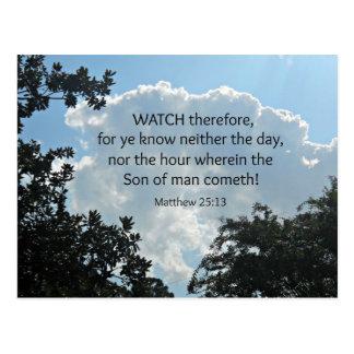 El reloj del 25:13 de Matthew por lo tanto, porque Postales