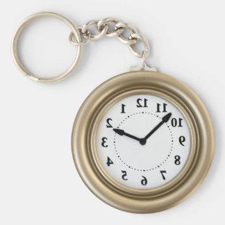 El reloj del conejo blanco llavero redondo tipo pin