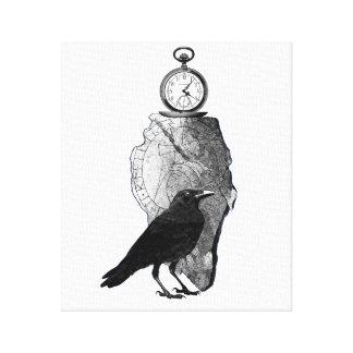 El reloj del cuervo Runestone y de bolsillo Impresión En Tela