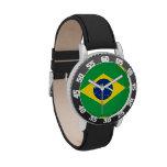 El reloj del niño del Brasil - la bandera del Bras