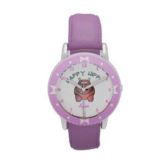 El reloj del niño feliz del hipopótamo