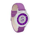 El reloj del niño púrpura con el icono de encargo