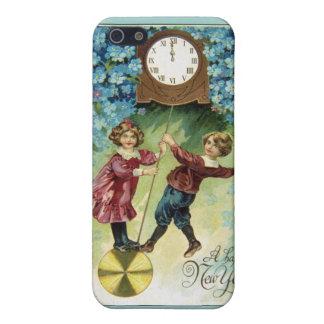 El reloj del vintage da vuelta a medianoche iPhone 5 fundas