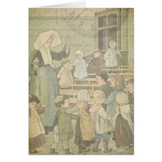El reloj del vintage de la escuela de los niños de tarjeta pequeña