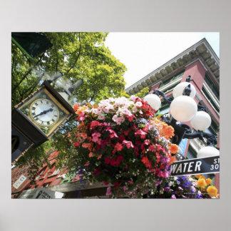 El reloj famoso del vapor en Gastown - Vancouver, Póster