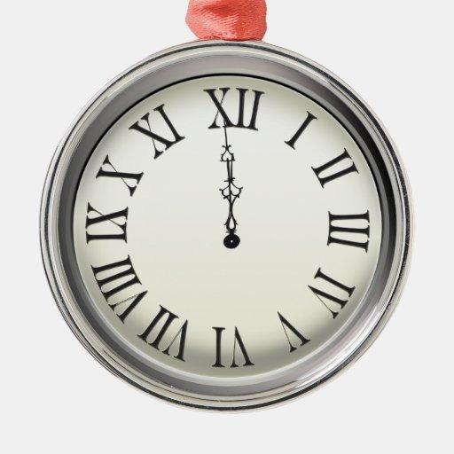 El reloj pega Noche Vieja de medianoche Adorno Navideño Redondo De Metal