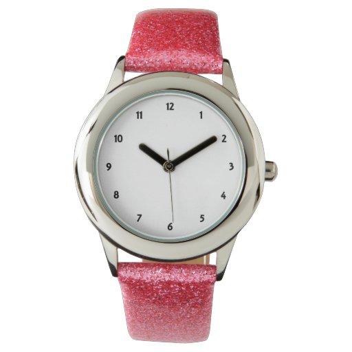 El reloj rosado de la correa del brillo del niño