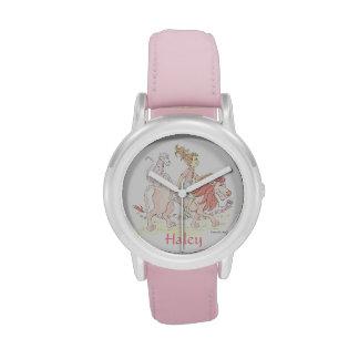 El reloj ROSADO personalizado del chica con los an