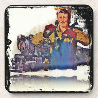 El remachador de Rosie trabaja en el ferrocarril W Posavasos De Bebida