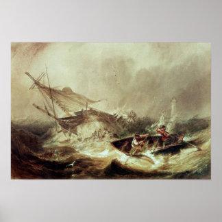El remar a rescatar naufragado póster