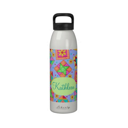El remiendo del edredón de la lavanda del bígaro b botellas de agua reutilizables