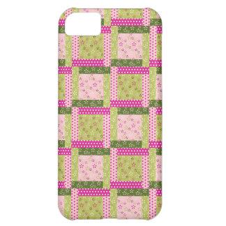 El remiendo verde rosado bonito ajusta el modelo funda para iPhone 5C