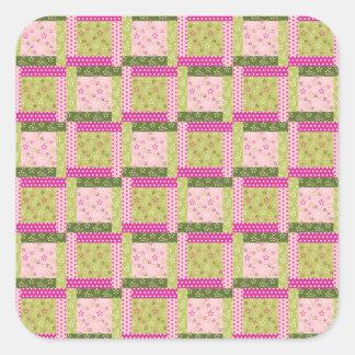 El remiendo verde rosado bonito ajusta el modelo pegatina cuadrada