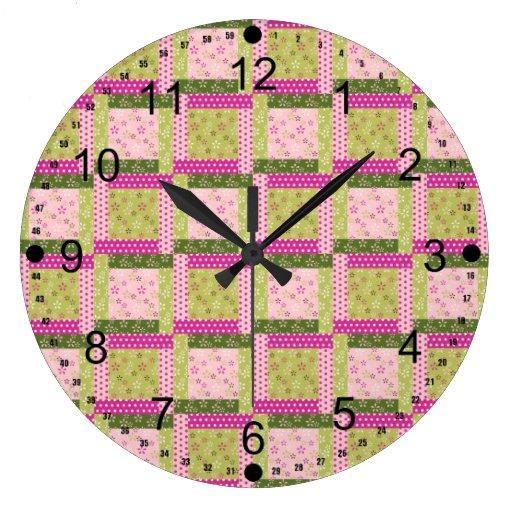 El remiendo verde rosado bonito ajusta el modelo reloj redondo grande