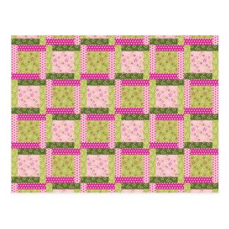 El remiendo verde rosado bonito ajusta el modelo postales