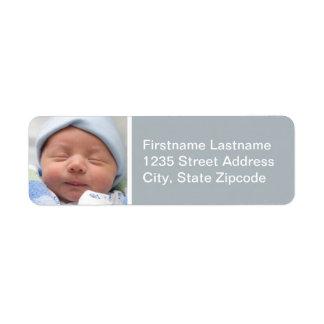 El remite de la foto del bebé etiqueta gris del ní etiqueta de remite