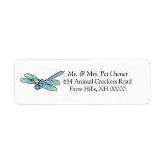El remite de la libélula del cartón etiqueta a los etiqueta de remitente