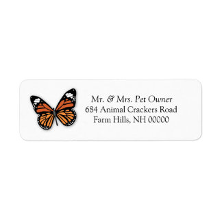 El remite de la mariposa de monarca etiqueta a los etiqueta de remite
