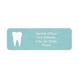 El remite de la oficina del dentista etiqueta el l