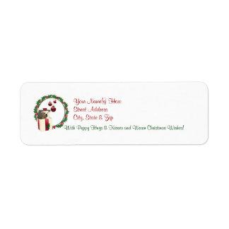 El remite de los deseos del navidad de Westie etiq Etiqueta De Remite
