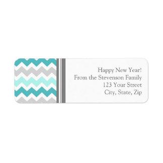 El remite del Año Nuevo etiqueta el azul gris Etiquetas De Remite