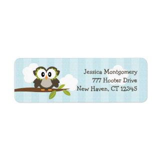 El remite del búho azul etiqueta personalizado etiqueta de remite