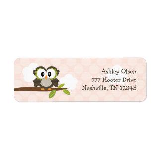 El remite del búho rosado etiqueta personalizado etiqueta de remite