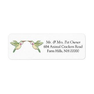 El remite del colibrí etiqueta a los pegatinas etiqueta de remite