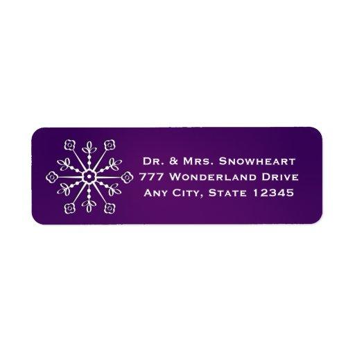 El remite del copo de nieve púrpura etiqueta a los etiqueta de remite