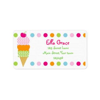 El remite del helado etiqueta los sellos del sobre etiquetas de dirección