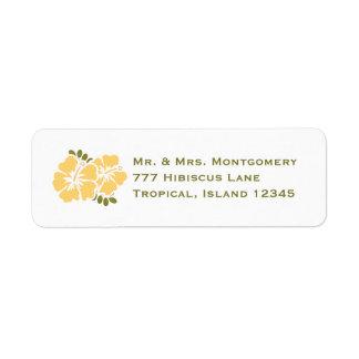 El remite del hibisco amarillo etiqueta personaliz etiquetas de remite