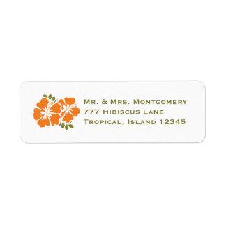 El remite del hibisco anaranjado etiqueta personal etiquetas de remite
