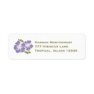 El remite del hibisco púrpura etiqueta personaliza etiquetas de remite