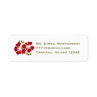 El remite del hibisco rojo etiqueta personalizado etiquetas de remite