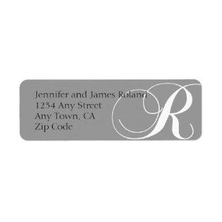 El remite del monograma R etiqueta gris Etiqueta De Remite