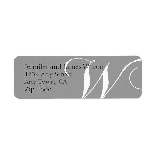 El remite del monograma W etiqueta gris Etiquetas De Remite