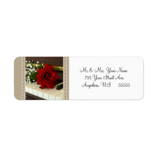 El remite del piano del rosa rojo etiqueta etiquet etiqueta de remite