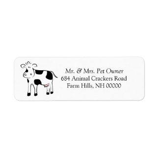 El remite del tema de la vaca del dibujo animado etiqueta de remite