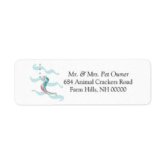 El remite del tema del caballo de mar etiqueta a etiqueta de remite