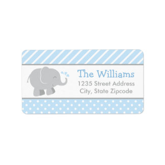 El remite etiqueta el azul y el gris del elefante etiquetas de dirección