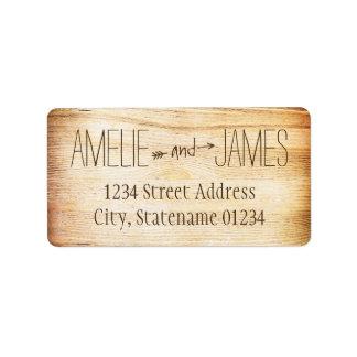 El remite etiqueta el | diseño de madera rústico etiqueta de dirección