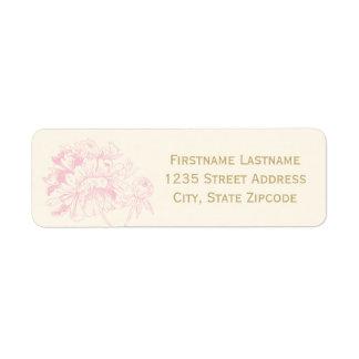 El remite etiqueta el   diseño rosado del Peony Etiqueta De Remite