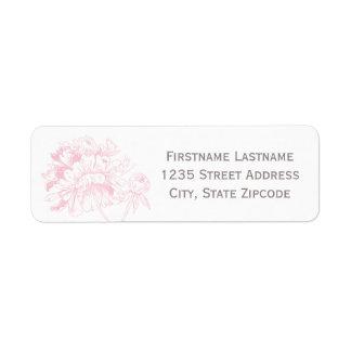 El remite etiqueta el | diseño rosado del Peony Etiquetas De Remite